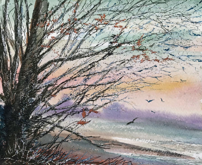 Ann Dunbar - Winter light, birds take flight