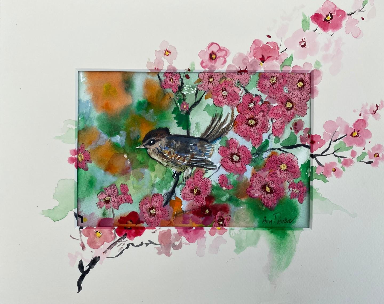 Ann Dunbar - Baby wren in pink blossom