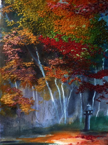 Forest Painting, watercolor, impressionism, artwork by Ann Dunbar